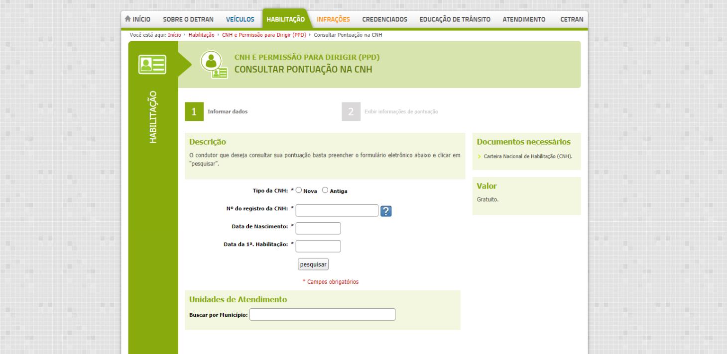 pagina de consulta de pontuacao de cnh do detran mg
