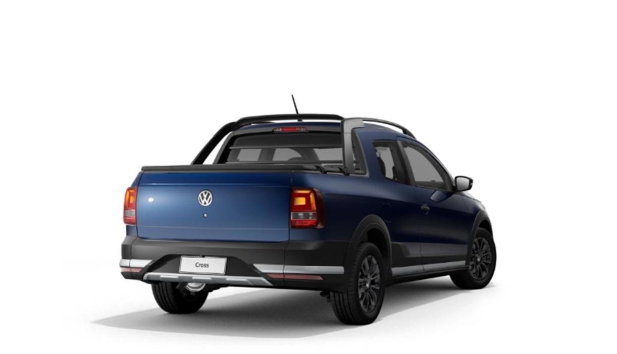 traseira da volkswagen saveiro 2021 versao cross azul
