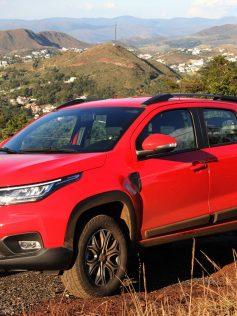 nova fiat strada 2021 volcano cabine dupla vermelha dianteira