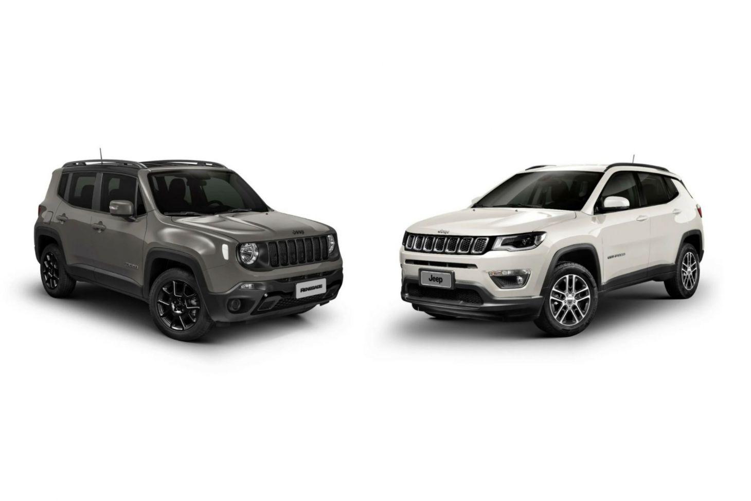 Utilitários esportivos Jeep Renegade e Compass em fotomontagem