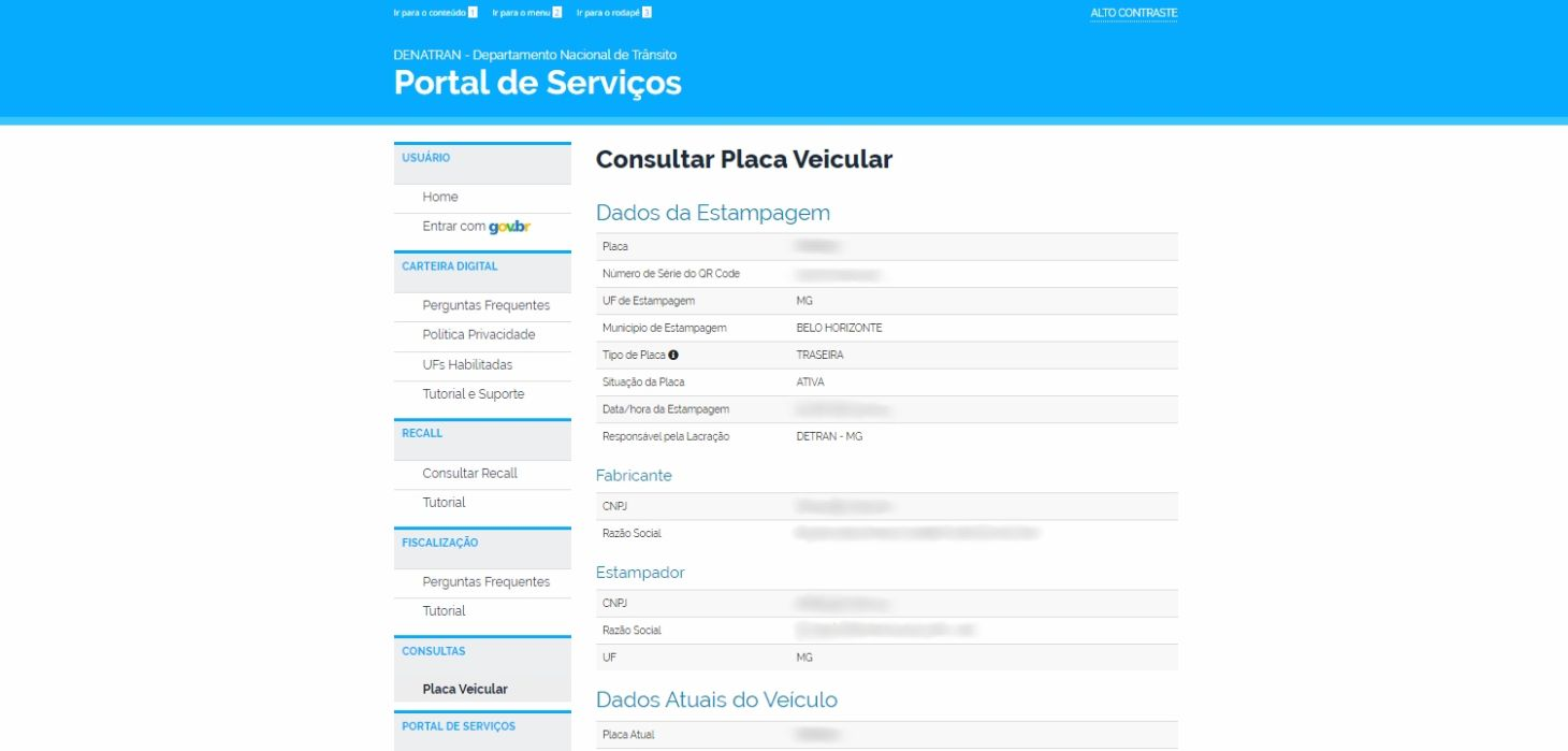 pagina do portal de servicos do denatran dados da estampagem consultar placa veicular