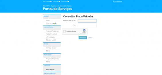 pagina do portal de servicos do denatran consultar placa veicular