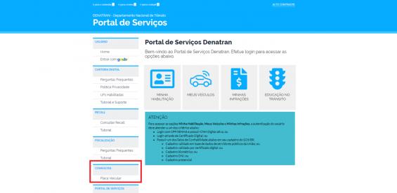 pagina do portal de servicos do denatran com destaque para consulta de placas