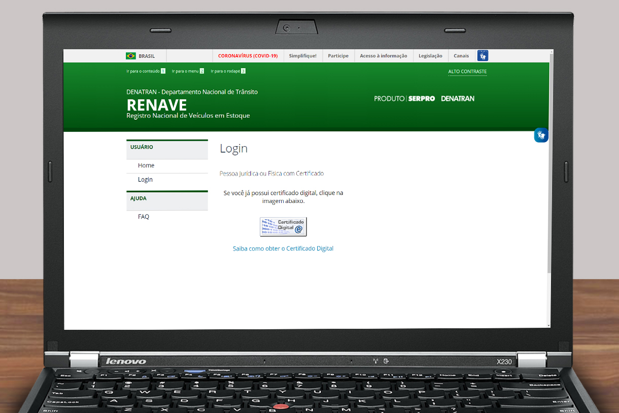 notebook_tela_com o site do RENAVE_DENATRAN aberto