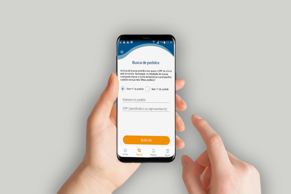 tela de busca de pedidos de indenização do app Seguro DPVAT andre fundo shutterstock