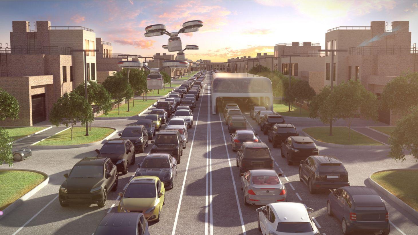 ilustracao carro voador sobre transito congestionamento rodovia cidade