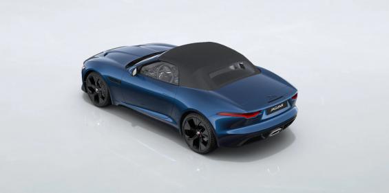 traseira do jaguar f type p300 2021 conversivel azul