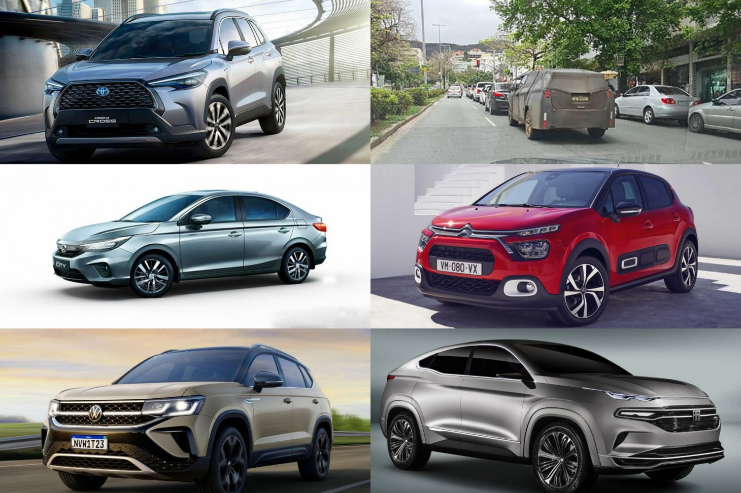 novidades automotivas carros 2021 suvs utilitarios esportivos hatches volkswagen taos fiat fastback honda city corolla cross citroen c3