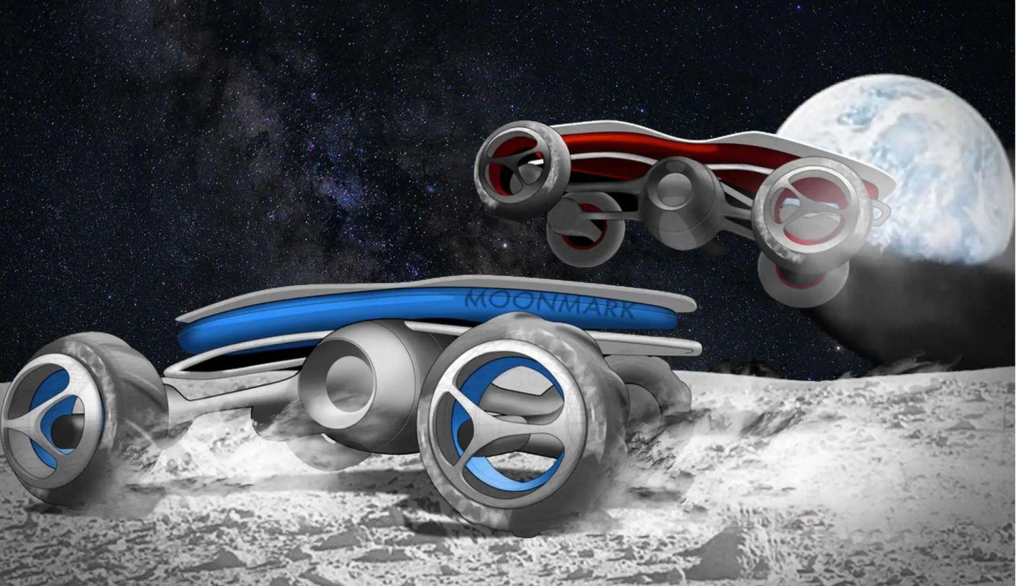 projeção de dois carros de controle remoto disputando corrida na Lua