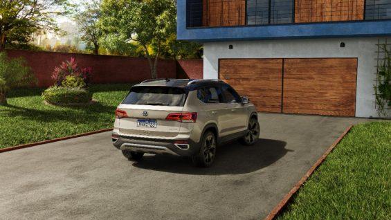 traseira do vw taos estacionado em frente a garagem
