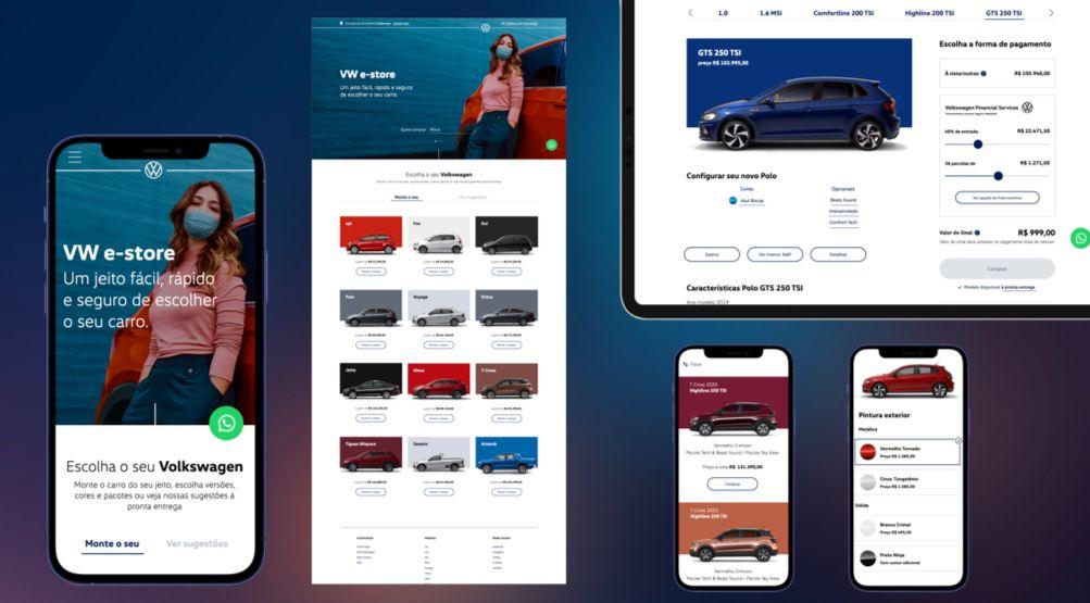 imagens da vw e store projetadas em celulares telas e tablets