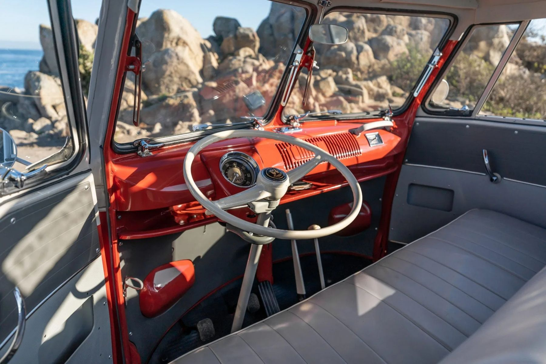 vw kombi 1959 interior frente