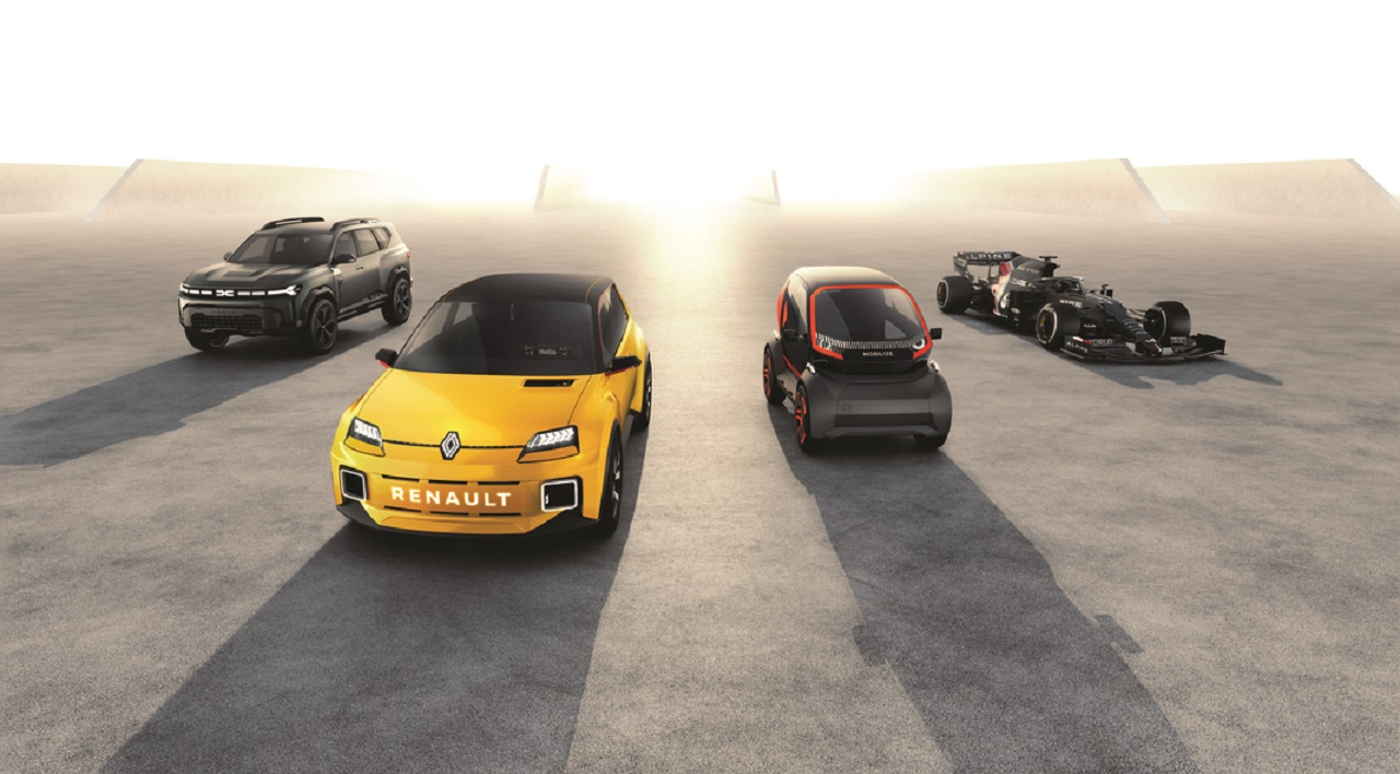 quatro prototipos de automoveis renault indicando os planos da fabricante para o futuro 1