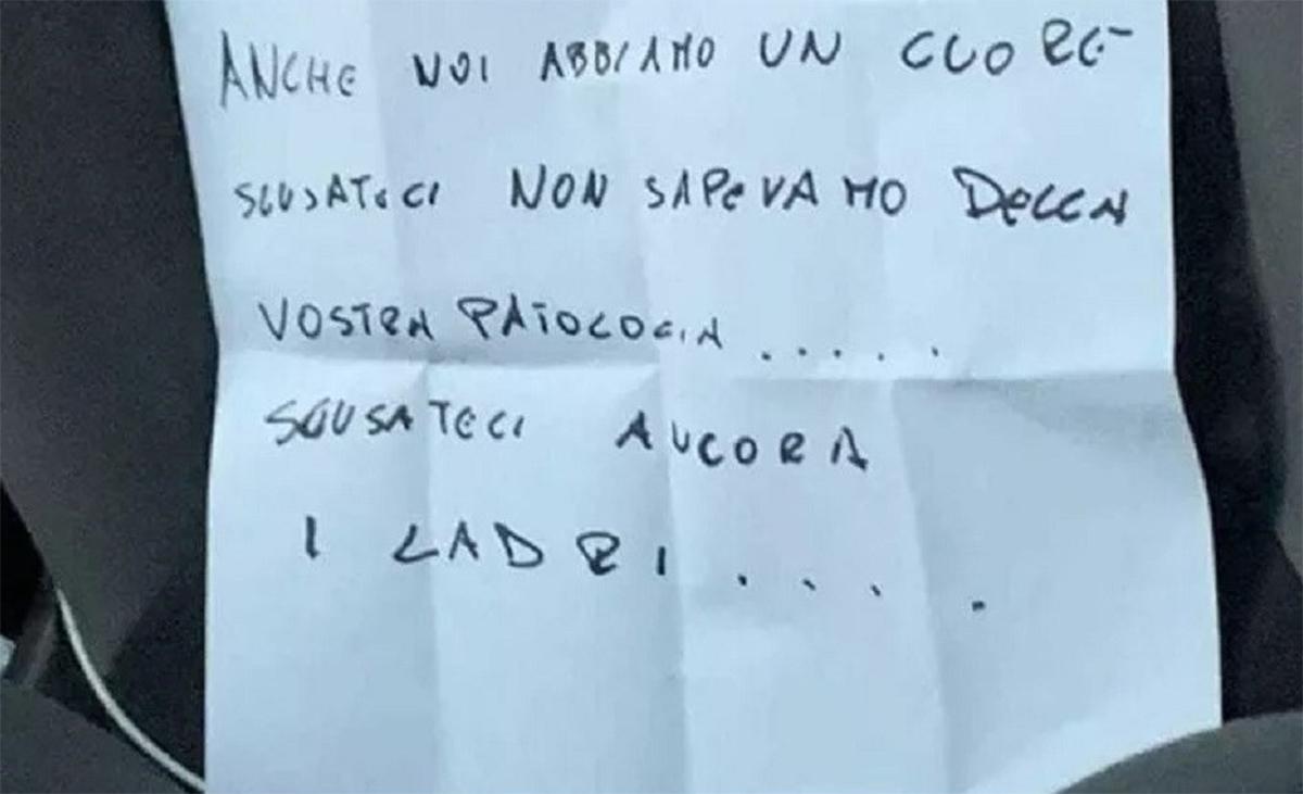 ladroes deixaram bilhete ao devolverem fiat doblo roubada em bari na italia
