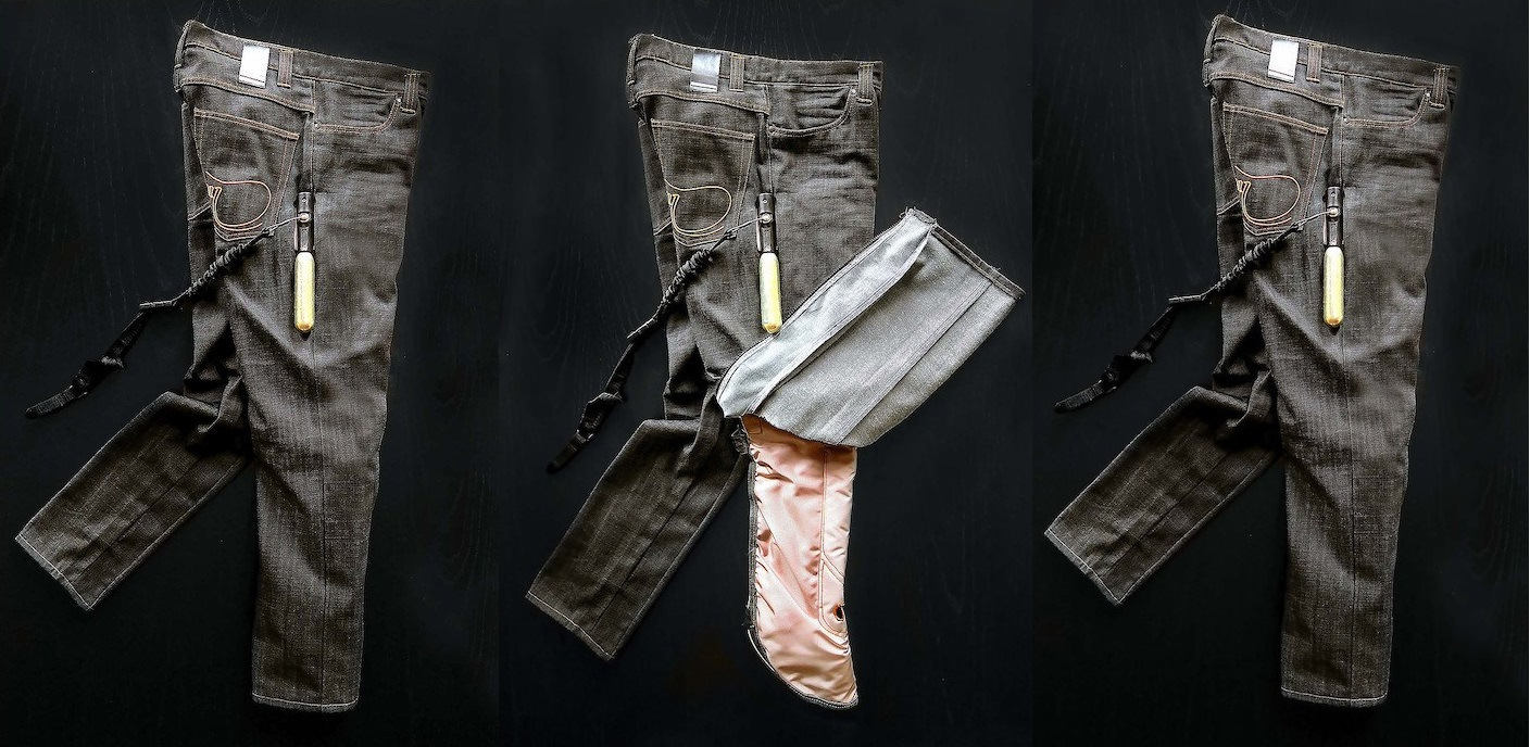 prototipo do jeans airbag da marca airbag inside sweden ab