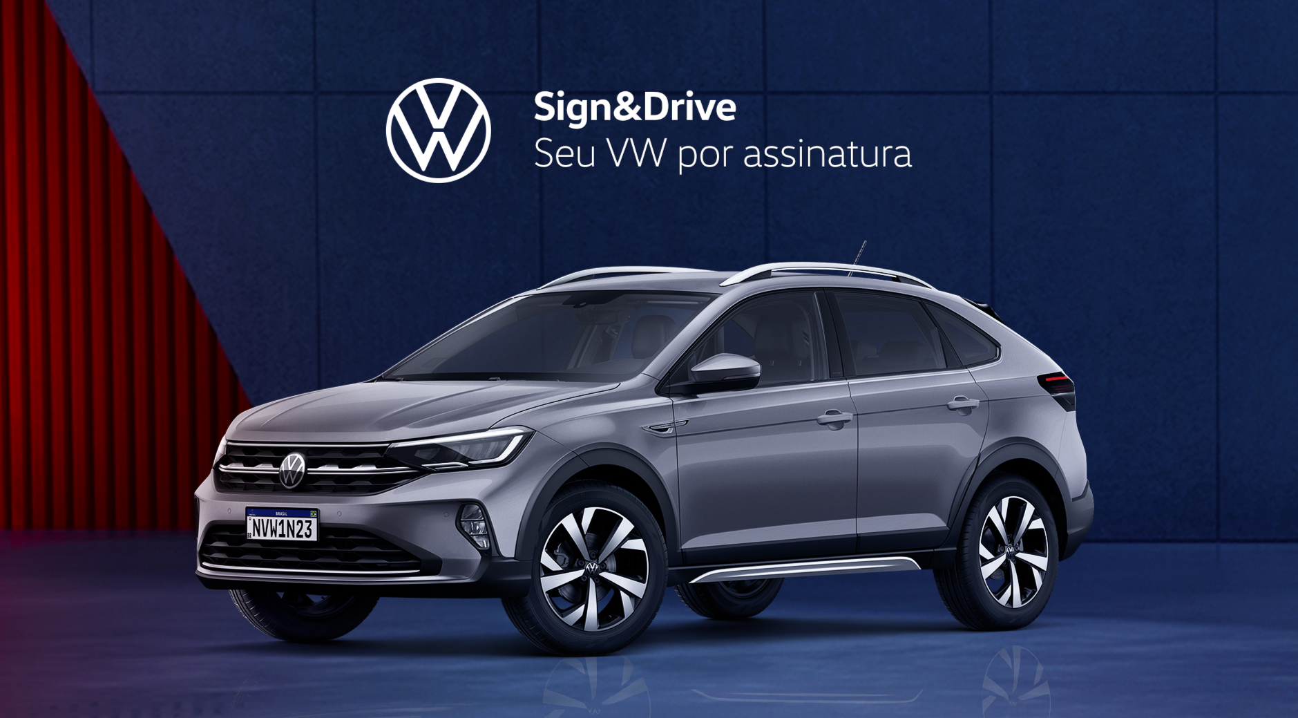 volkswagen nivus prata visto de lado em propaganda de carros por assinatura