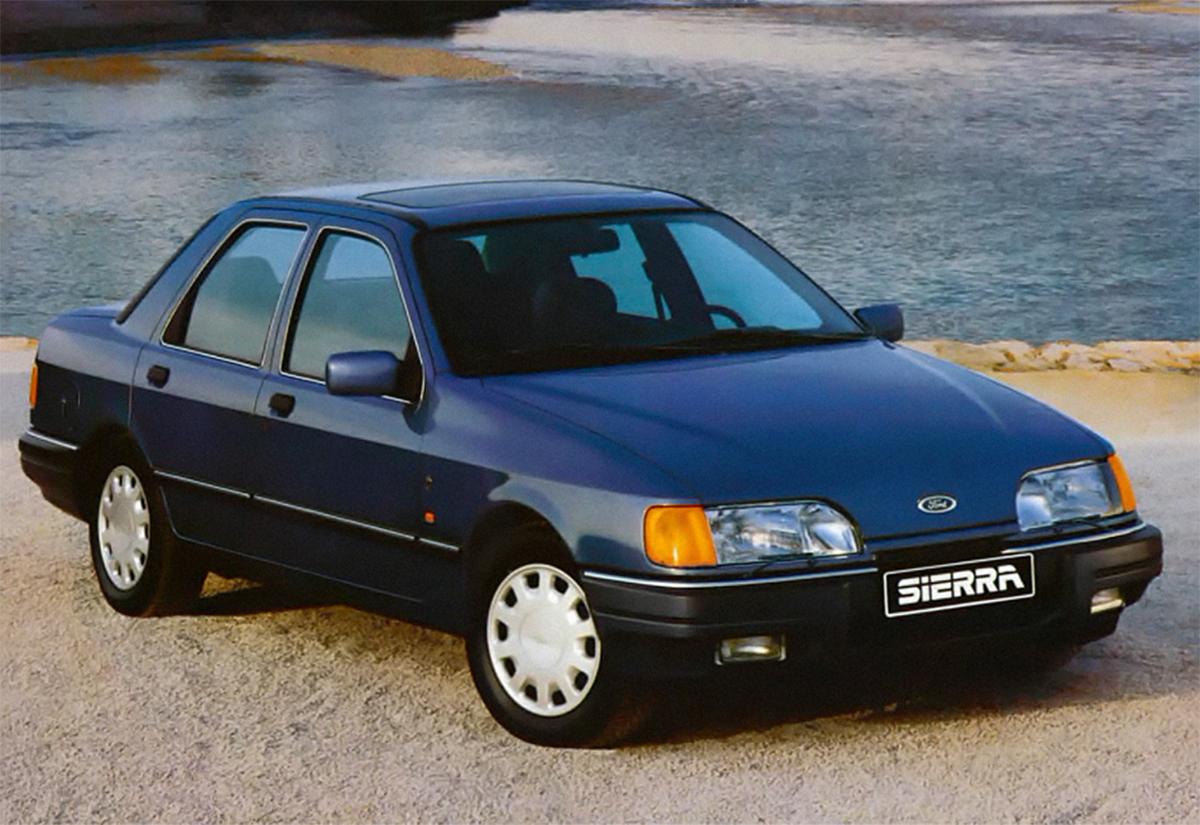 ford sierra sedan azul 1987 de frente
