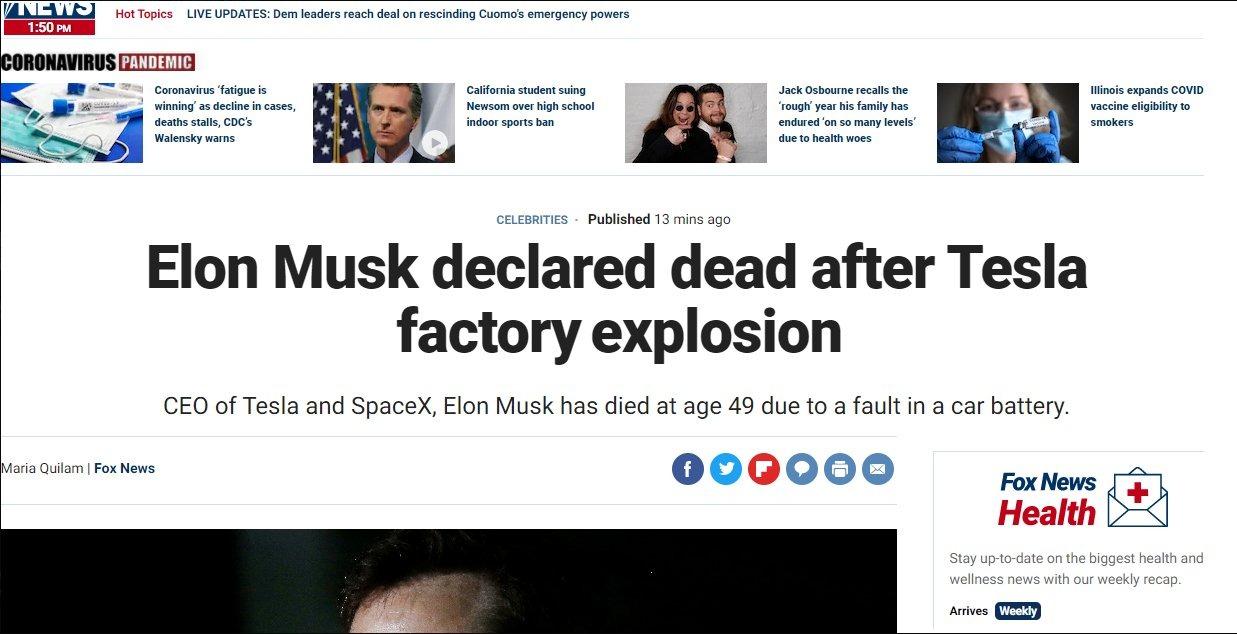 morte elon musk fake news 1