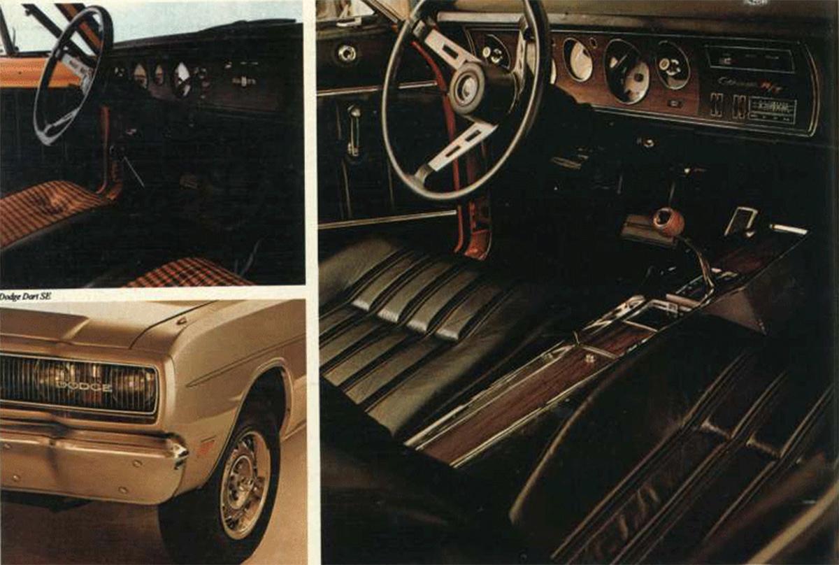 material publicitario da linha dodge nacional com destaque para o interior do charger