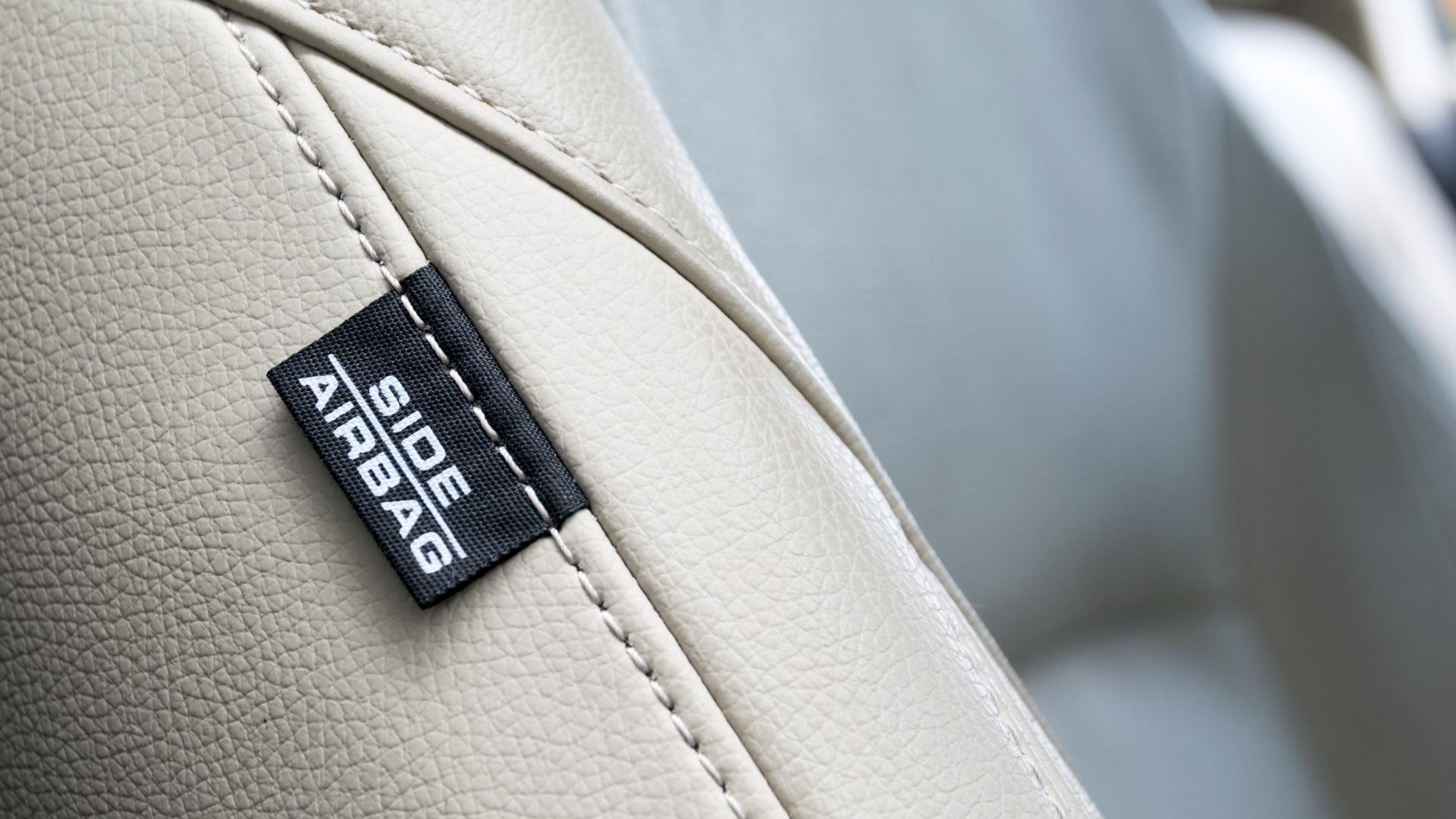 airbag lateral etiqueta detalhe banco de couro
