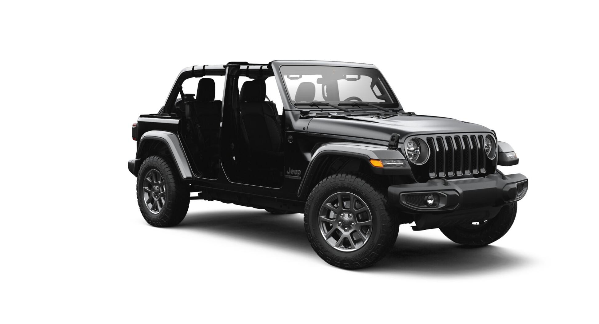 jeep wrangler serie especial 80 anos sem capota em fundo branco