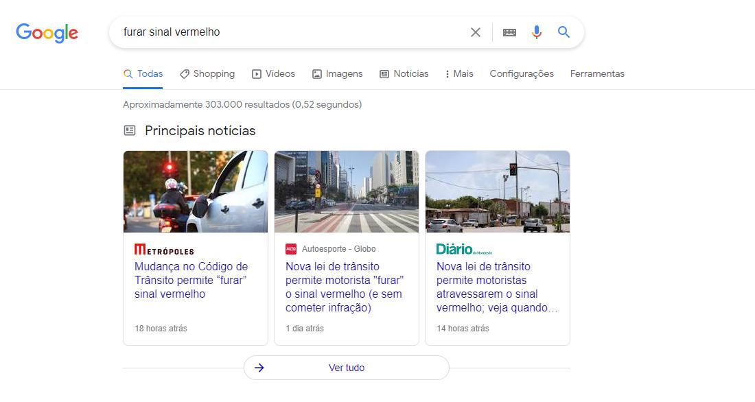google mostrando resultado das buscas por furar sinal vermelho