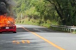 Ferrari F40 fica completamente destruída após pegar fogo no Japão