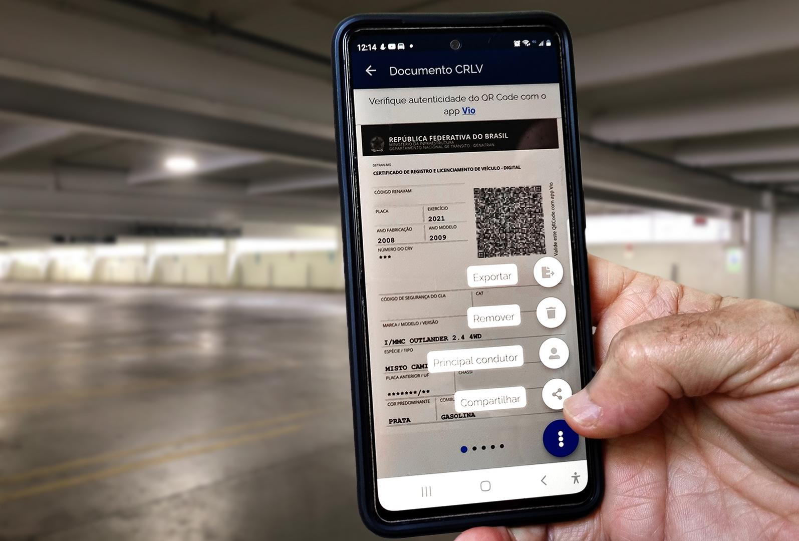 tela opcoes do icone veiculos do aplicativo carteira digital de transito 2