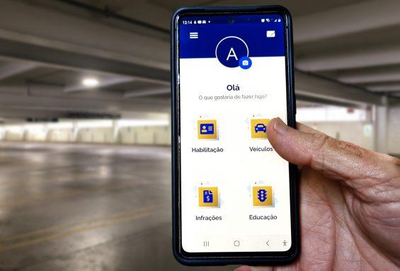 tela inicial do aplicativo carteira digital de transito com cnh digital e crlv e 2