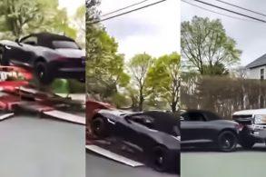 [VÍDEO] Jaguar F-Type cai de reboque e causa 'engavetamento'