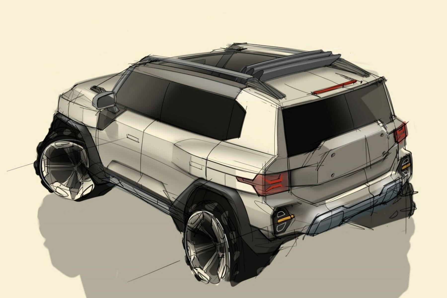 sketch desenho ssangyong x200 traseira