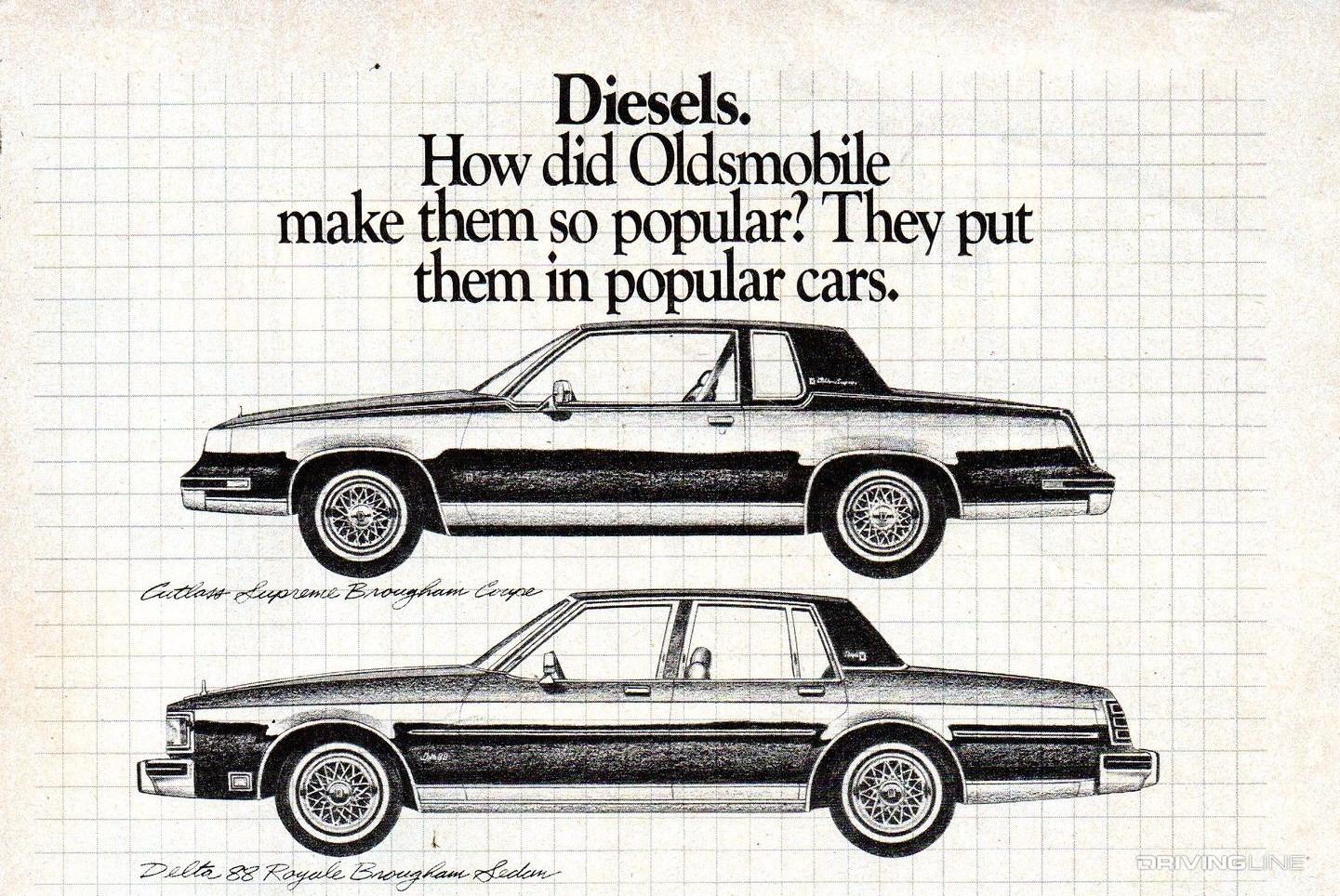 anuncio de epoca oldsmobile com motor diesel