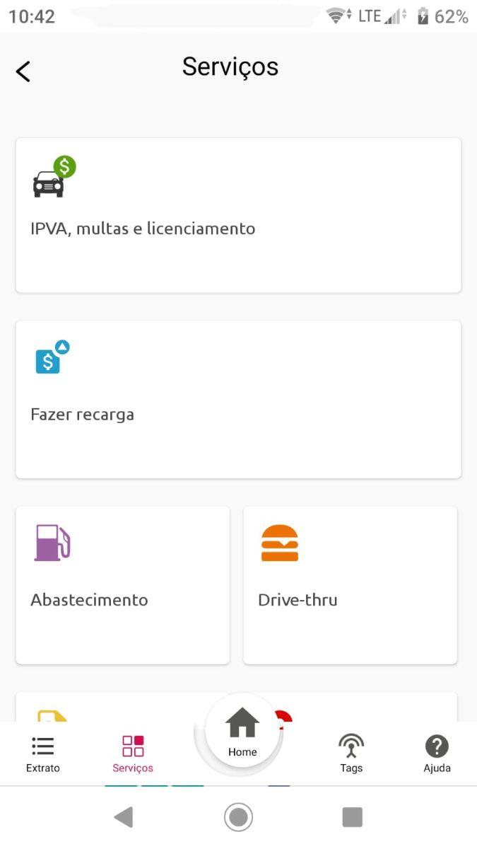 tela de servicos aplicativo sem parar
