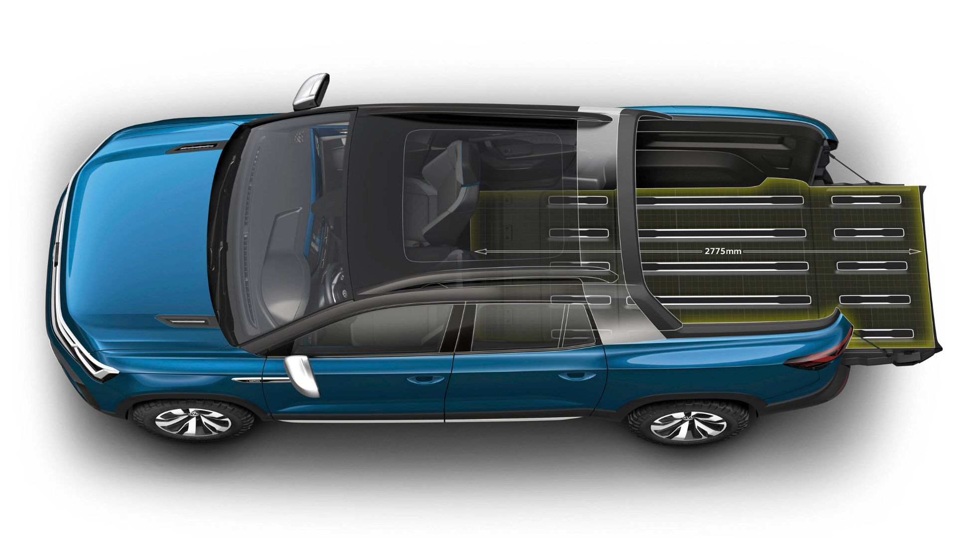 volkswagen tarok concept vista de cima mostrando a area de carga com os bancos rebatidos