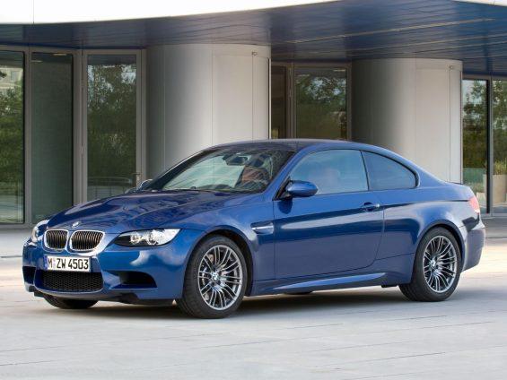 bmw m3 coupe e92 azul frente parado