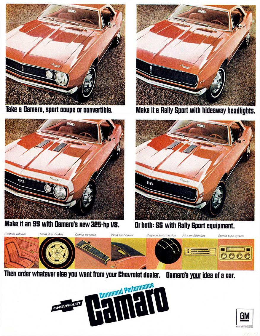 propaganda de epoca chevrolet camaro rs 1967