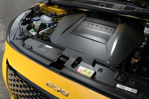 peugeot e 208 gt amarelo cofre do motor