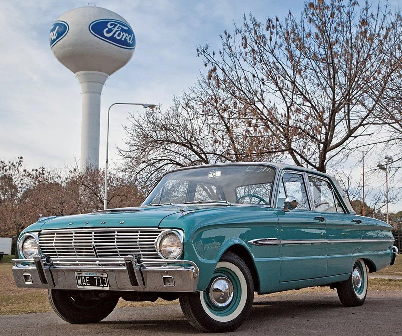 ford falcon 1963 azul e branco de frente na argentina